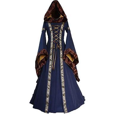 ChallengE Vestito Donna Abito Elegante Cerimonia Invernale Halloween  Medievale Renaissace Vintage Swing Dress Vestiti Abiti Donne Vestito da  Cocktail ... dcdcbfc28fb