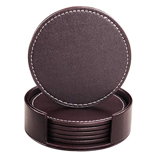 Leather Coasters for Drinks, Handmade Hibeer Set of 6 PU coaster with Holder, Protect Furniture from Water (brown, - Drink Leather Coaster
