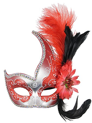Venetian Fancy Dress Mask Fluff Feather Diamond Lace for Party Ball Masks