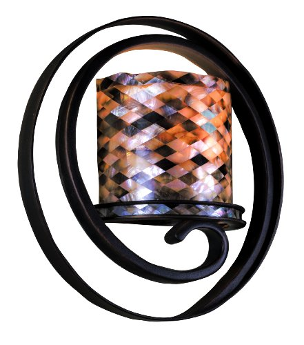 Kalco 6010AC/NS39 Monaco 1-Light ADA Wall Sconce, Antique Copper Finish with Black Iridescent Shell Shade