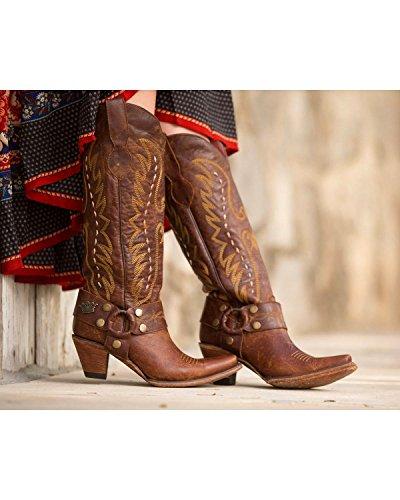 Rijstrook Womens Junk Zigeuner Door Vagabond Harnas Western Boot Knip Teen - Jg0030a Bruin