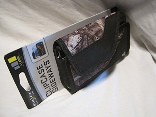 Nite Ize Sideways Tough Black /Camouflage Mossy Oak Horizontal Fitting , Extremely Durable Rugged / Heavy Duty X-large Holster Pouch W/Durable Fixed flex Clip Fit Securely Over And Under Belt / Weather-Resistant / Storage Compartment Holds Identification/ Cash And Credit Cards/ Absorbs Shocks/ Fits Your LG G5 Cellphone