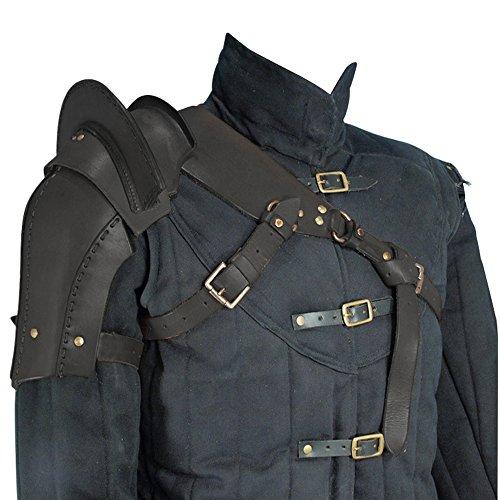 Armor Venue: Warriors Single Pauldron Leather Shoulder Armor Black Large