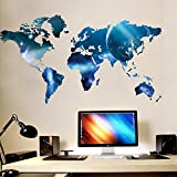 ufengke Personalized World Map Galaxy Wall Decals, Living Room Bedroom Removable Wall Stickers Murals