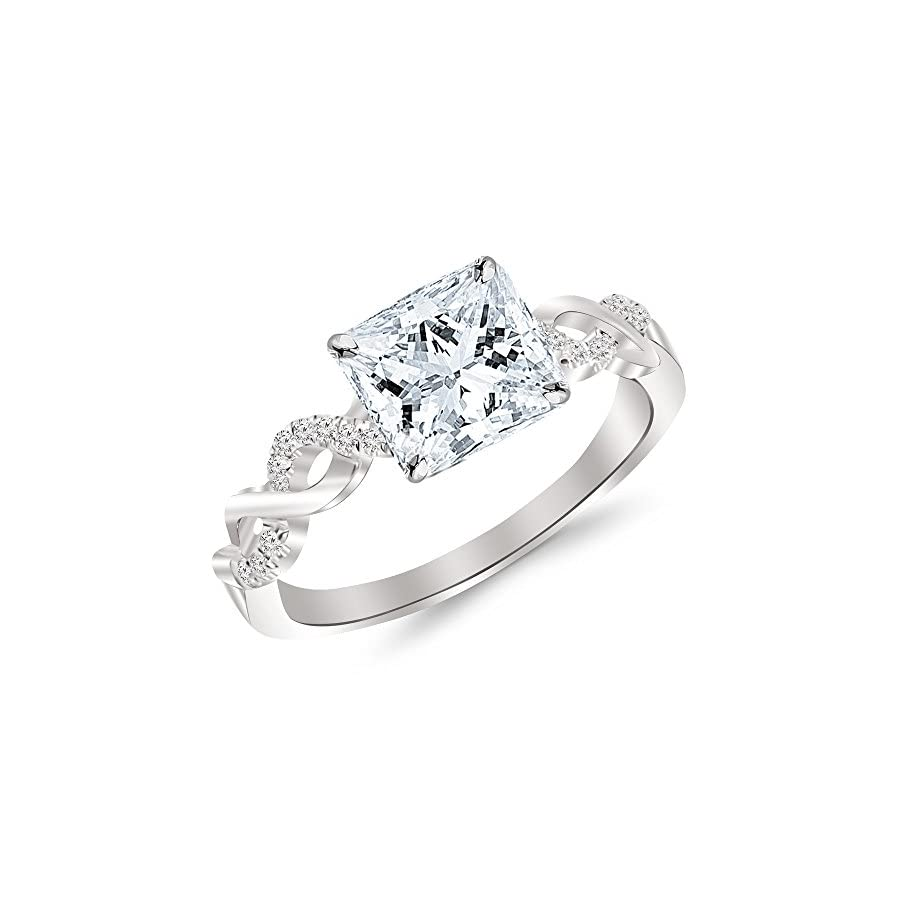 1.13 Cttw 14K White Gold Princess Cut Twisting Infinity Gold and Diamond Split Shank Pave Set Diamond Engagement Ring with a 1 Carat I J Color I1 I2 Clarity Center