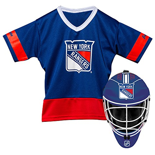 Franklin Sports New York Rangers Kid's Hockey Costume Set - Youth Jersey & Goalie Mask - Halloween Fan Outfit - NHL Official Licensed Product -