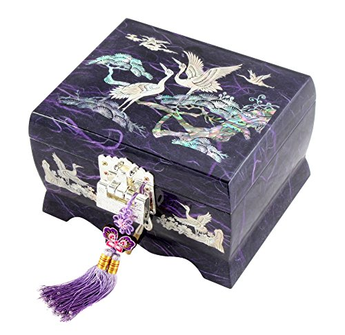 Fun-Store Nacre Inlay Mother of Pearl Music Jewellery Storage Chest Wooden Box Crane with Pine Tree Design Jewelry Mirror Box Keepsake Treasure Gift Box Trinket Case Organizer (Purple)
