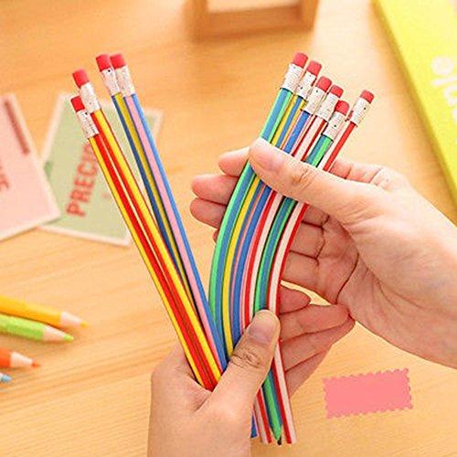 Bendy Pen - 5 Pcs Colorful Magic Bendy Flexible Soft Pencils Pen with Eraser Kids Study Gift zsjhtc