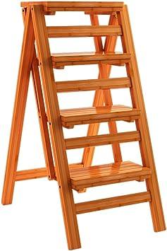 Silla Plegable de bambú de la Escalera de la Silla de la Escalera de la Moda del Taburete de la Moda de 4 Pasos para la Biblioteca casera, Naturaleza: Amazon.es: Hogar