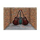 Music Decor Three Guitars in The Corner of The Room with Brick Walls Bath Rugs Non-Slip Doormat Floor Entryways Indoor Front Door Mat Kids Bath Mat 15.7X23.6In Bathroom Accessories