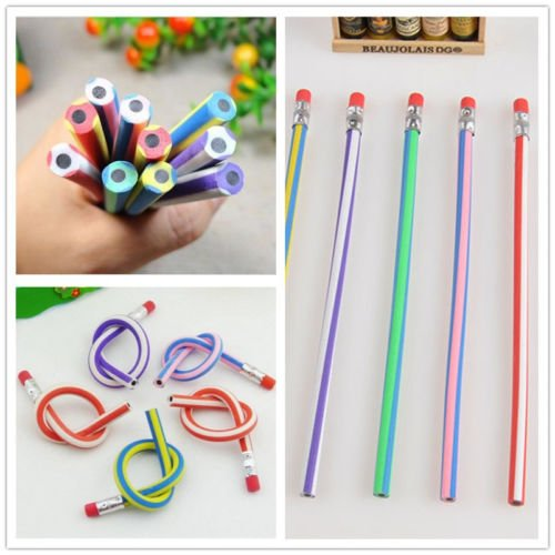 MAZIMARK--5PCS Colorful Magic Bendy Flexible Soft Pencil With Eraser For Kids Writing New