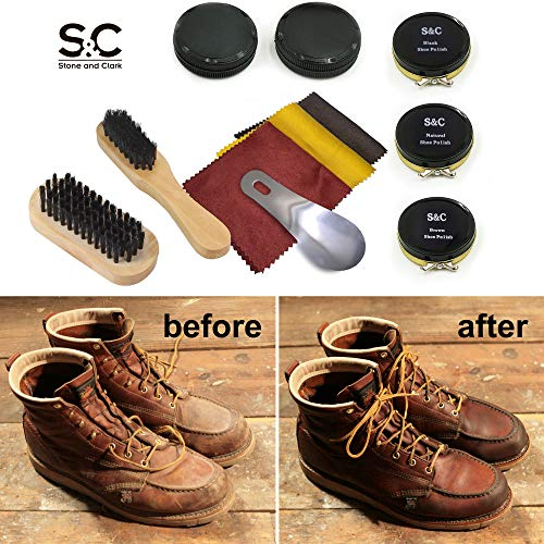 Bestbewertet echt ausgewähltes Material 100% authentisch Stone & Clark 12PC Shoe Polish & Care Kit, Leather Shoe Shine Kit with  Brown Wax, Shoe Brushes for Polishing, Shine Cloth & Shoe Horn,Compact Shoe  ...