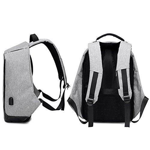 Espeedy Multi-función hombres mochila de fibra de poliéster estudiante bolsa de hombro paquete de computadora para viajes de negocios escalada camping gris