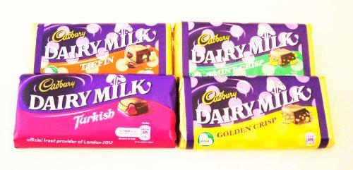 Cadburys Golden Crisp (Irish Cadbury Dairy Milk Chocolate 4 Pack - Tiffin, Turkish Delight, Chocolate Crisp AND Golden Crisp)