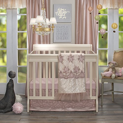 Glenna Jean Remember My Love Mini Crib 2 Piece Bedding Set Includes Dust Ruffle and Fitted Sheet, Pink from Glenna Jean