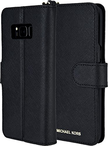 Michael Kors Saffiano Leather Black Folio Phone Case Samsung Galaxy - Kors Mark