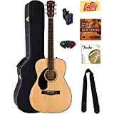 Fender CC-60S Concert Acoustic Guitar - Left Handed, Natural Bundle with Hard Case, Tuner, Strap, Strings, Picks, Instructional DVD, Polishing Cloth