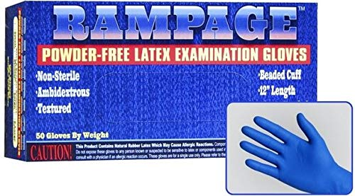 Rampage Powder Free High-Risk Latex Exam Gloves, 15 Mil Thick, Extended Cuff (500, Extra Large)