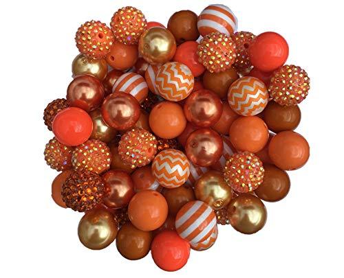 20mm Orange Mix 30 Count Chunky Bubble Gum Acrylic Beads Bulk Wholesale Pack Necklace Kit
