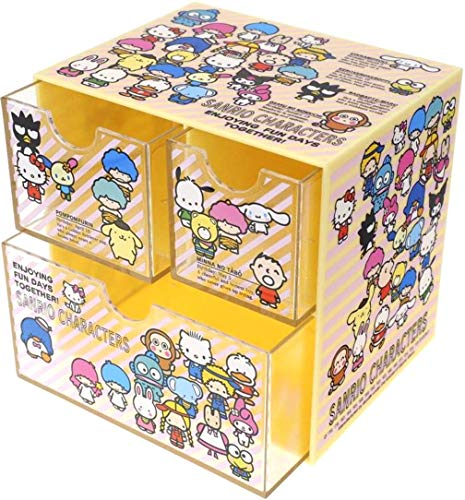 Hello Kitty Desktop - Ellon Mix Characters Compact Desktop 3-Drawer Organizer Plastic Storage Box Stationery Cosmetic Jewelry Craft Medicine Case