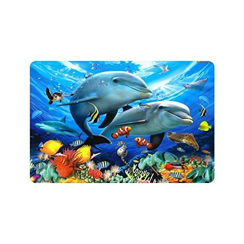 Dolphins Round Ring (Dolphins Doormat Entrance Mat Floor Mat Rug Indoor/Outdoor/Front Door/Bathroom Mats Rubber Non Slip Size 23.6 x 15.7 inches)