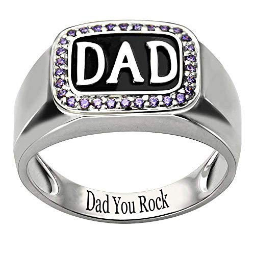 - RESVIVI Sterling Silver Customized DAD Rings with Birthstones Personalized Engraving Inscription Father's Day Ring Gift Silver