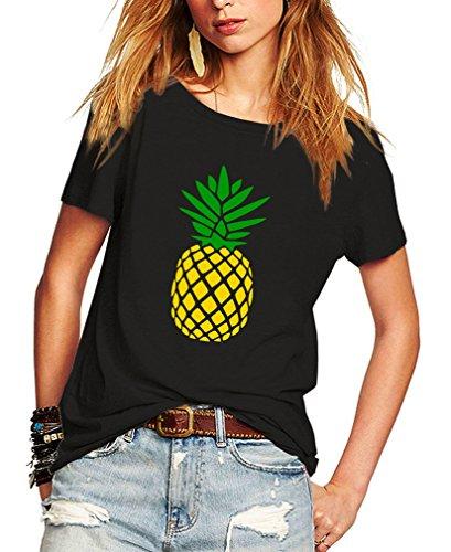 Romastory Womens Summer Casual T-Shirts Pineapple Print Short Sleeve Tops Shirts