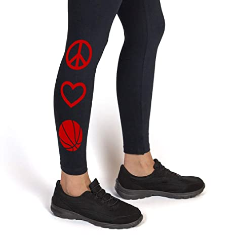 Youth To Adult Sizes bk-01412 Peace Love Basketball Leggings Basketball Leggings by ChalkTalk SPORTS Multiple Colors
