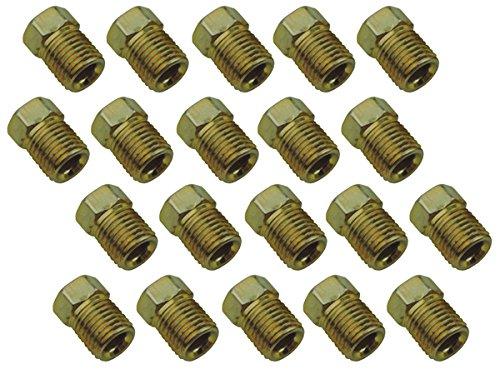 (L-3-3) 3/8-24 Inverted Flare Gold Zinc Tube Nut Fitting 3/16 Brake Line Tubing 20pc Set ()