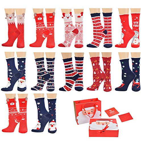 Christmas Socks for Women, NIBESSER 12 Pairs Womens Christmas Socks Cozy Funny Xmas Holiday Socks - Novelty Design for Christmas Gifts (12 Funny Christmas Day Of)