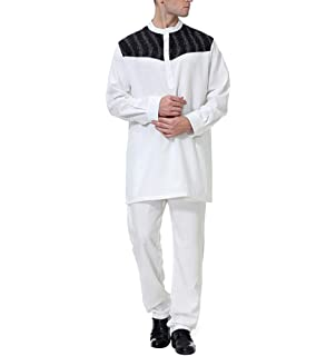 a3269c87bce90 zhxinashu Chemise Arabe Musulman Abaya Dubai - Costume pour Robe Islamique Vêtement  Homme Maxi Longue Pantalon