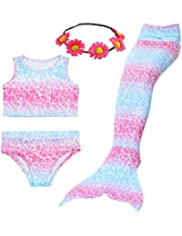 3PCS Girls' Swimsuit Mermaid Tail for Swimming Tropical...