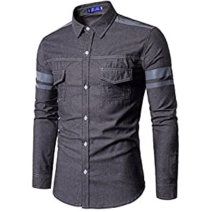Aishang Men's Chambray Long Sleeve Shirt Essential Double Pocket Prints Shirts
