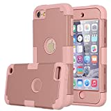 iPod Touch 6 Case,iPod Touch 5 Case,Pandawell 3-Piece Style Hybrid Dual Layer [Hard PC+ Soft Silicone] Impact Protection Case Cover for Apple iPod Touch 5 6th Generation_2015 Realeased - Rose Gold