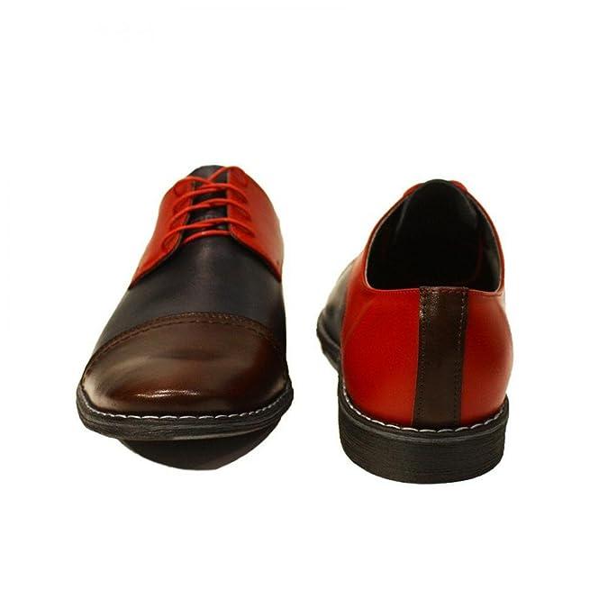 Modello Celestino - 41 EU - Cuero Italiano Hecho A Mano Hombre Piel Vistoso Zapatos Vestir Oxfords - Cuero Cuero Suave - Encaje YIYtxX4