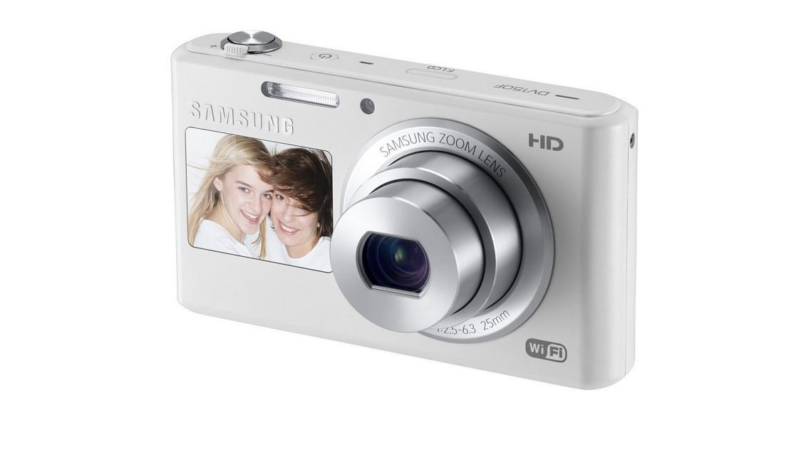 Samsung DV150F 16.2MP Smart WiFi  Digital Camera with 5x Optical Zoom and 2.7'' main and 1.48'' front Dual LCD Screens (White)