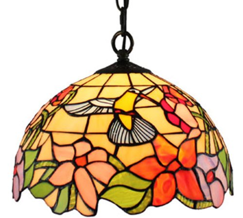 (Amora Lighting AM1082HL12 Tiffany Style Hummingbird 1-Light Pendant Lamp)