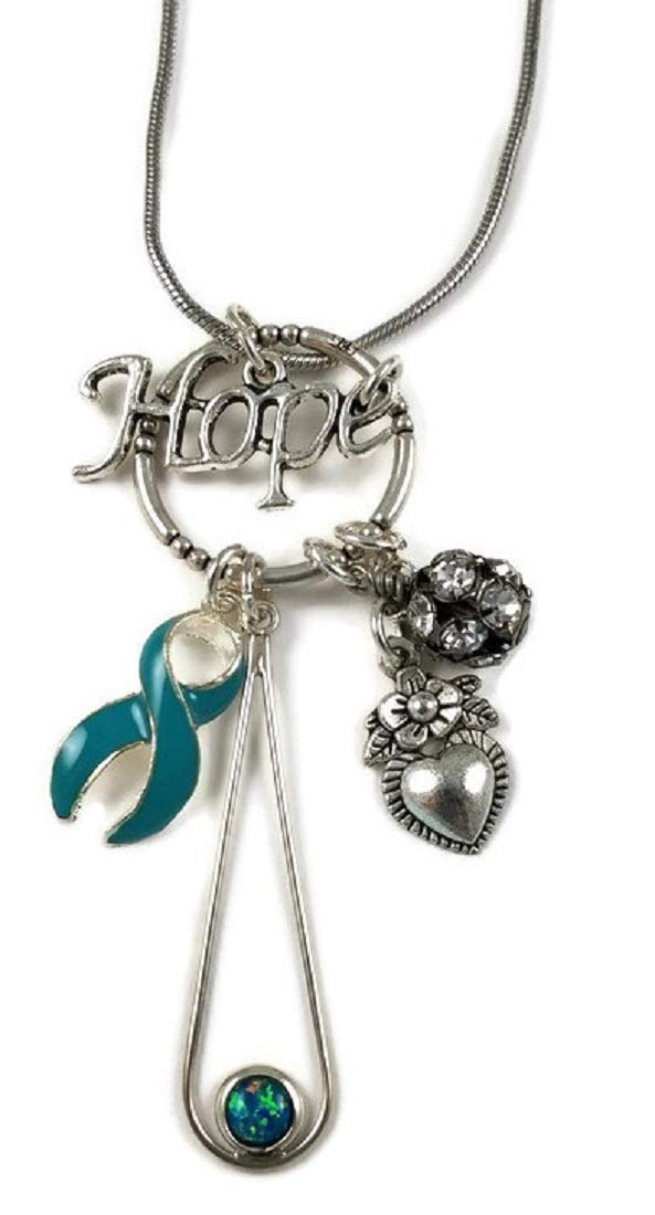 Amazon Com Circle Of Hope Teal Ovarian Cancer Awareness Necklace Handmade