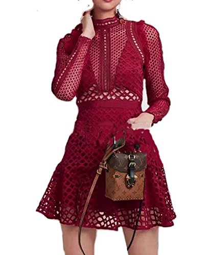 Celebritystyle ruby red lace dress see measurement #A (S, ruby) Bcbg Lace Dress