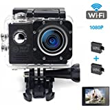 Camera Action,HD 1080P Action Ultra WIFI Waterproof DV Camcorder With 2 Batteries(Black)