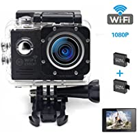 JUGSY HD 1080PSports Action Camera Ultra WIFI Waterproof DV Camcorder With 2 Batteries(Black)