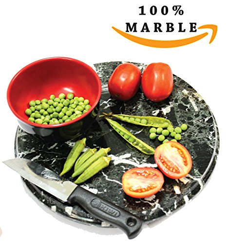 Cutting Board 12 inches Round Carving Handmade Marble Chopping Fruits Cutting Boards - Butcher Kitchen Chop Set Dishwasher Safe - Non Organic Bamboo Non Silicone Used as Home Pastry Serving Decoration
