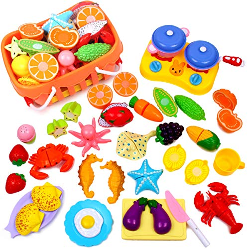 GobiDex Pretend Food, Kids Play Food Set Educational Toys Food Assortment Pretend Cooking Food for Toddler Plastic Food Fruit Cutting Set Kitchen Play Food Deluxe Color Box Packaging Inspire Kids