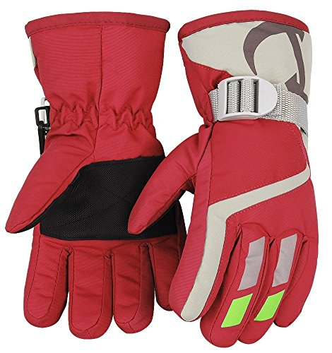 Kids Winter Warm Water-Resistant Gloves for Skiing/Snowboarding/ Cycling/Riding Outdoor Activities Children Mittens Best for 3 to 5 Years Old Red