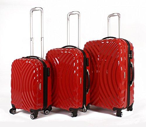 Rojo Set de 3piezas–4Ruedas de maletas–Carcasa rígida Poly Carb PC bolsa
