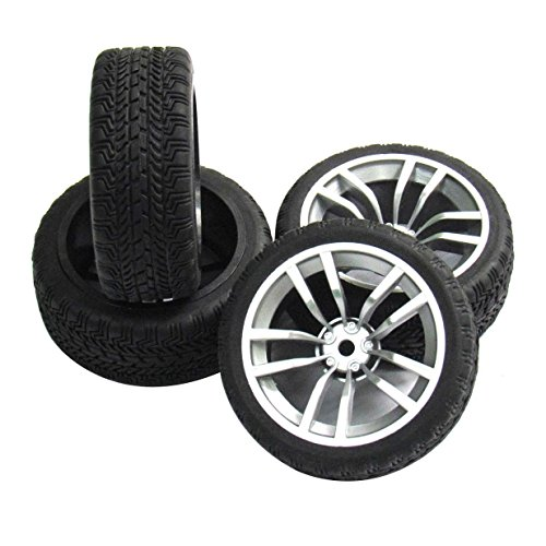 (ShareGoo 12mm Hub Wheel Rims & Rubber Tires for RC 1/10 on-road Touring Racing Drift Car(Pack of 4))