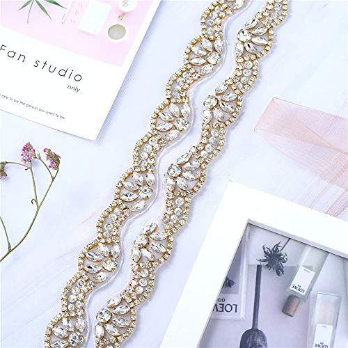 1 Yard Rhinestone Diamante Belt Applique Sew Iron on Crystal Bridal Wedding Dress Sash Beaded Jeweled Patch for Bride Bridesmaid Gown Women Prom Formal Belt Clothes Embellishments (Gold-Thin)