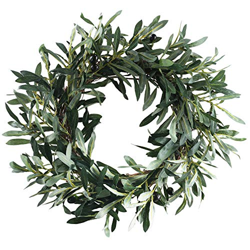 HO2NLE 18.5 inches Artificial Olive Wreath for Front Door Decor Spring and Summer Faux Silk Garland Home Office Wall Window Wedding Decorations (Greenery Wreath)