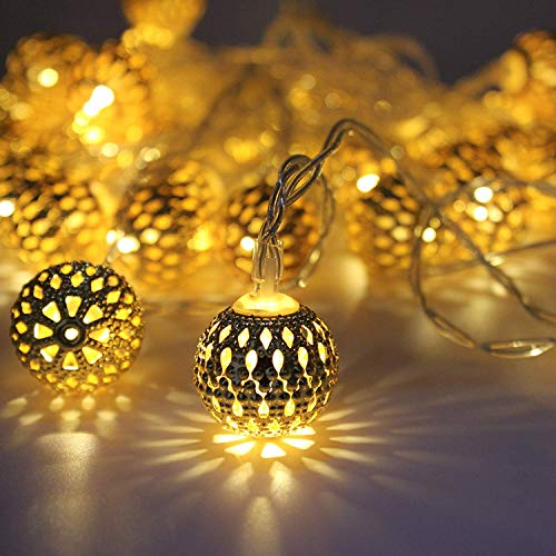 TinyGifts Moroccan Ball 16 LED String Lights Plug-in Metal Ball, Connectable with Tail Plug, for All Occasions-Christmas…