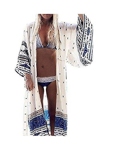 Womens Chiffon Kimono Cardigan Blouses
